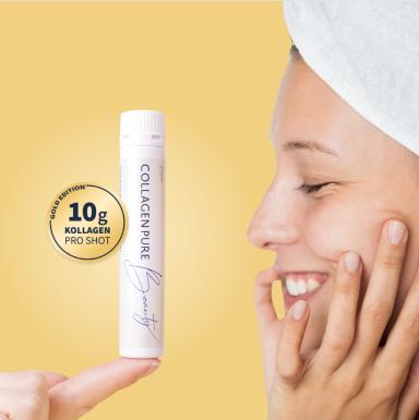 Collagen Ampulle vor Gesicht
